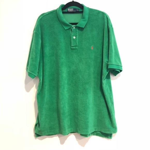 Ralph Lauren green terry cloth short sleeve shirt.  M 5aa8468584b5ce36e6c8bf4b 0426235ebc79